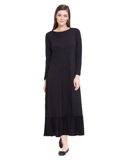 LC Waikiki Uzun Düz Elbise Siyah